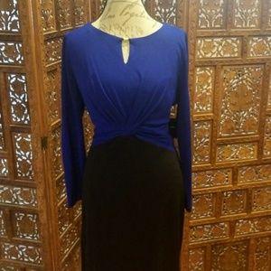 Ellen Tracy Shift Dress Blue and Black size 24W